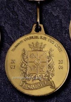 """1-3/4"""" Golden Brass/ Bronze Medallion W/ Raw Finish"""