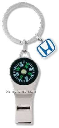 Compass Whistle W/ Message Tag