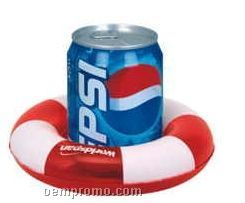 Inflatable Two Tone Life Preserver Shape Drink Holder