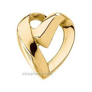 Ladies' 14ky Hollowed Heart Chain Slide Pendant
