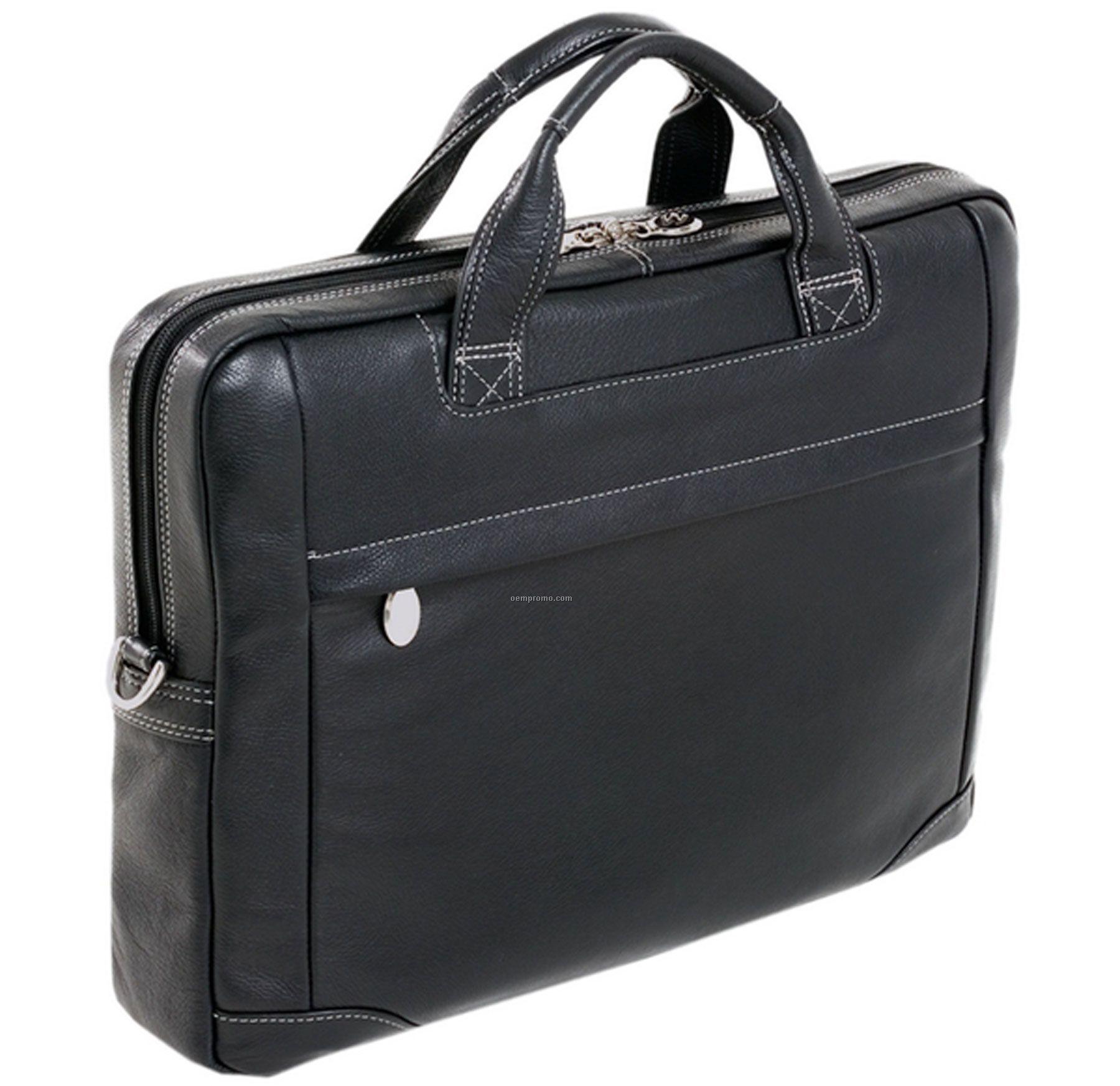 Montclare Leather Netbook Laptop Case - Black