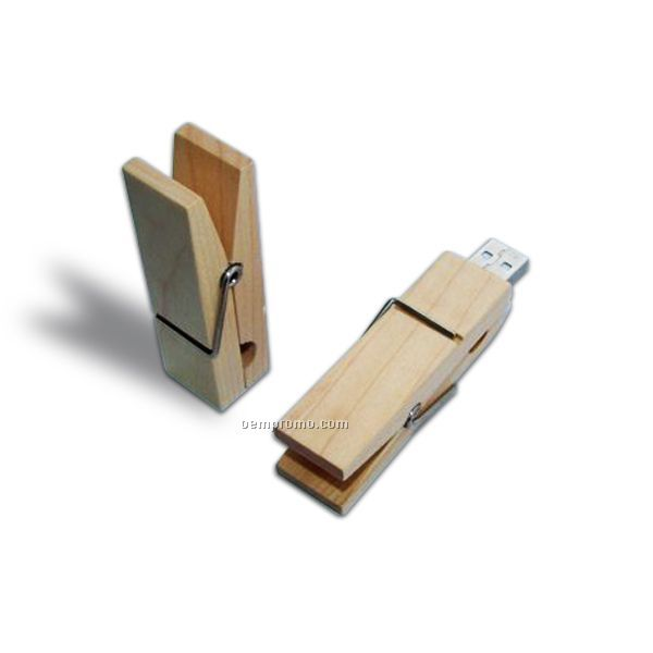 Wood Clip USB Flash Drive