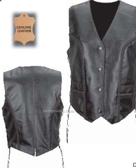 Diamond Plate Ladies' Solid Black Genuine Leather Vest (L)