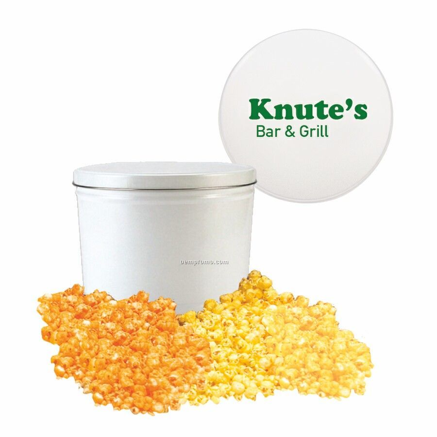 White Two Way Two Gallon Popcorn Tin With Butter & Cheese Flavors
