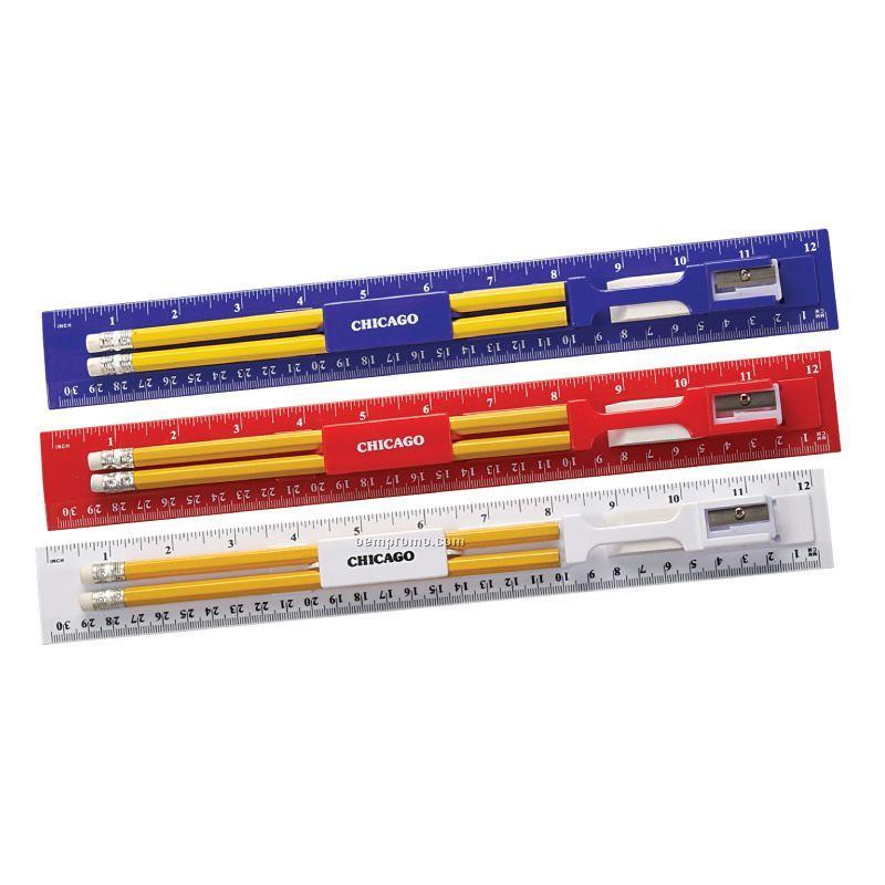 12 Inch Plastic Ruler Kit With Pencil, Eraser And Sharpener