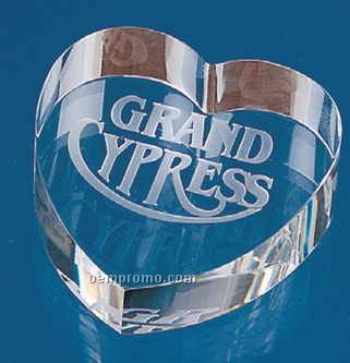 "2-1/2""X2-5/8""X7/8"" Optical Crystal Heart Paperweight (Screened)"