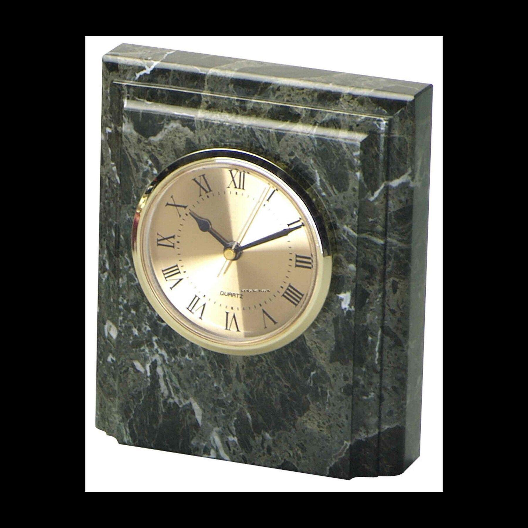 "6"" Jade Green Marble Square Desk Clock"
