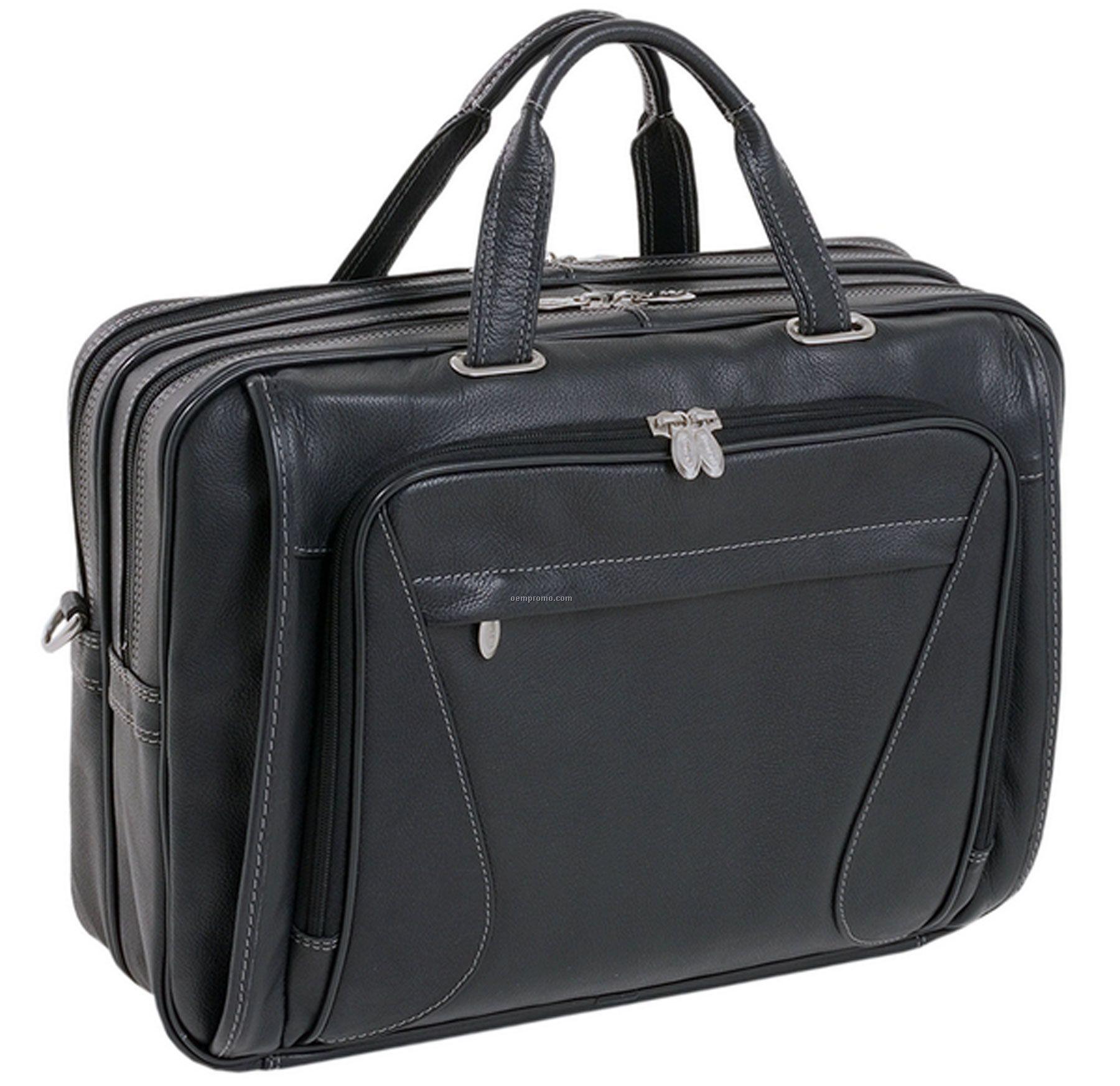 Irving Park Leather Double Compartment Laptop Case - Black