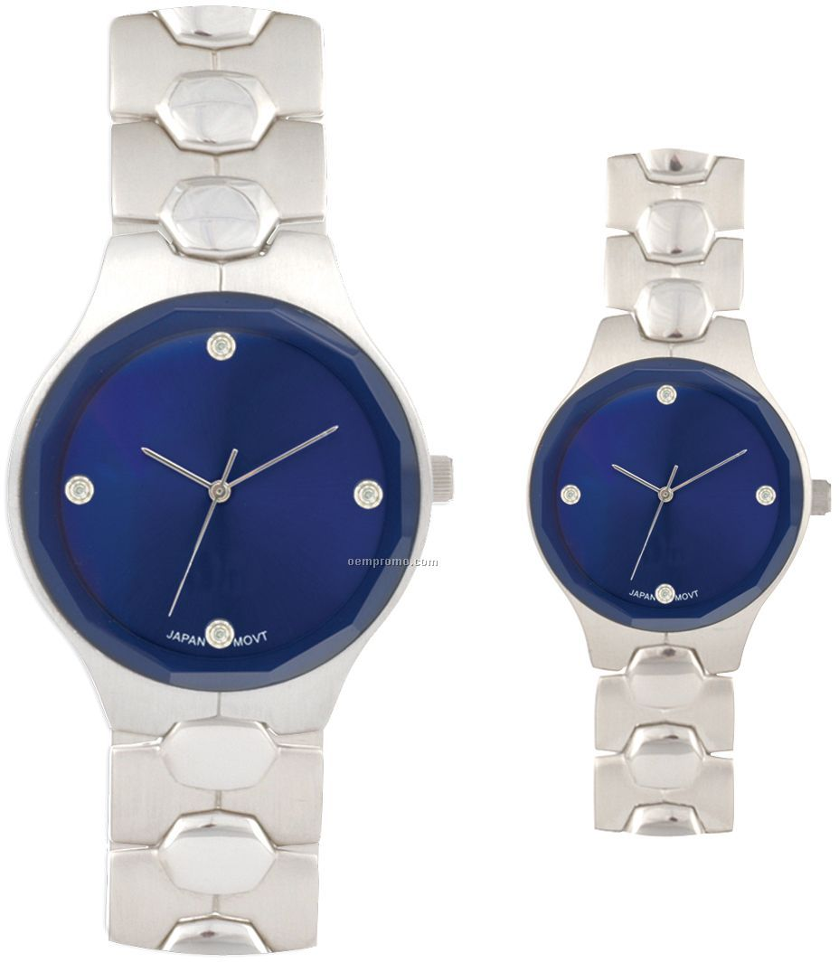 Pedre Women's Black Dial Diamond Metal Watch W/ Stainless Steel Bracelet