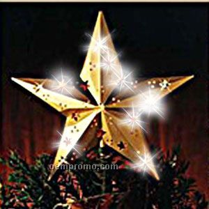 Light Up Star - Decor - Indoor - Outdoor - 9 In - Gold - White LED