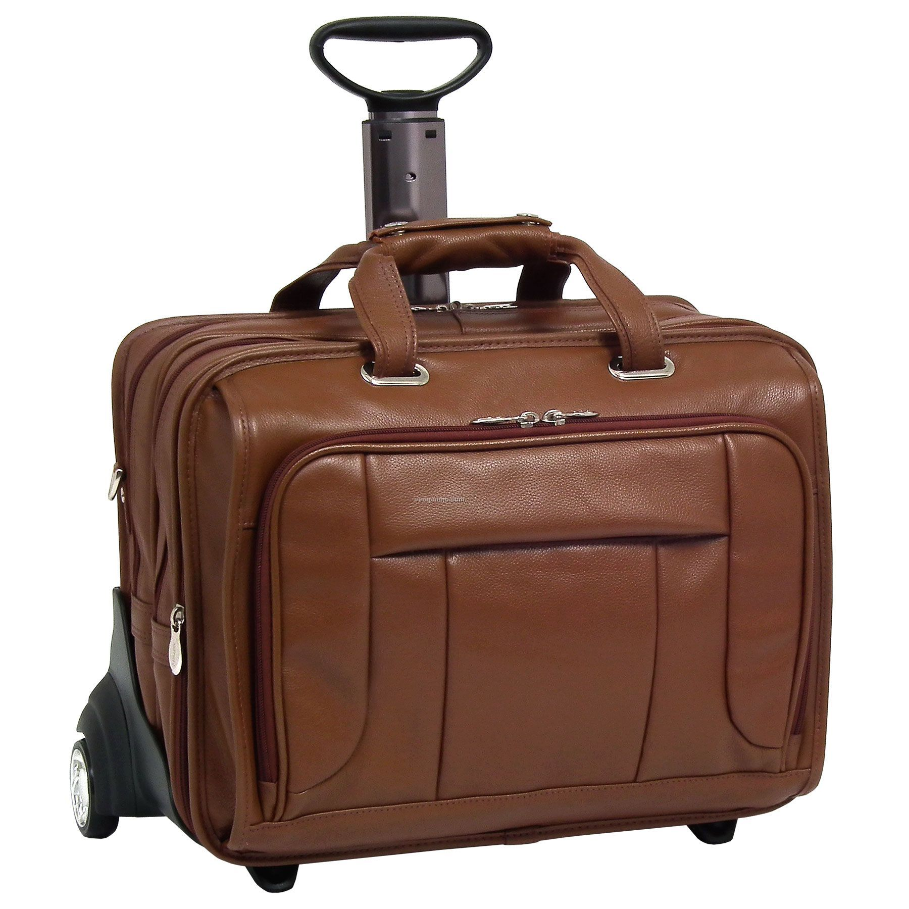 """West Town Leather Checkpoint Friendly 17"""" Wheeled Laptop Case - Brown"""
