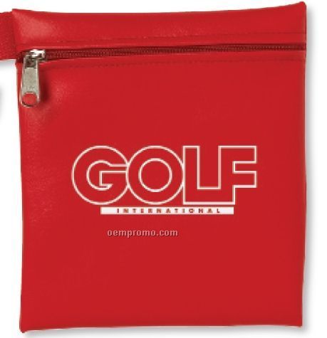 Large Zippered Golf Pouch With Tab 10 Oz. Natural Cotton Canvas