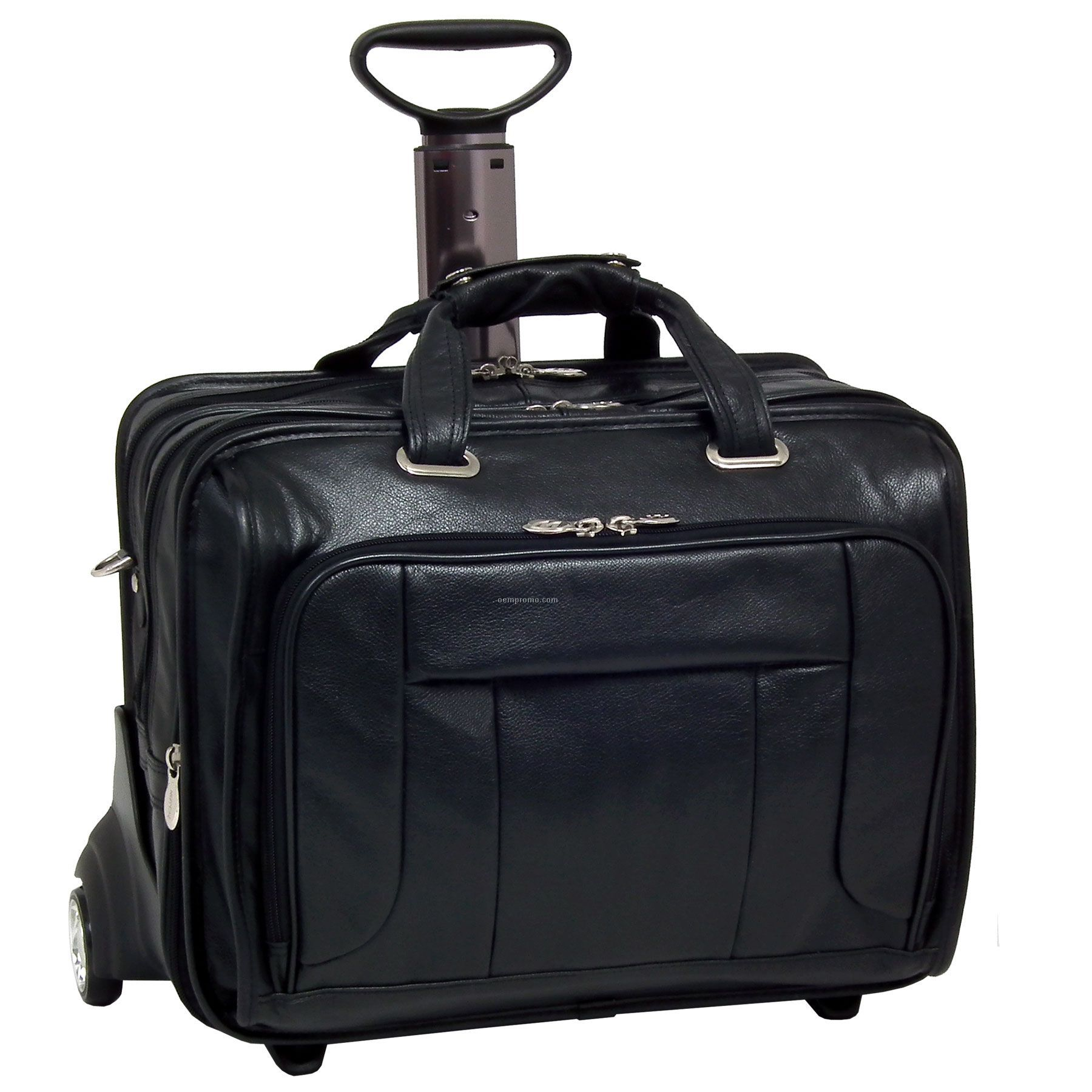 "West Town Leather Checkpoint Friendly 17"" Wheeled Laptop Case - Black"