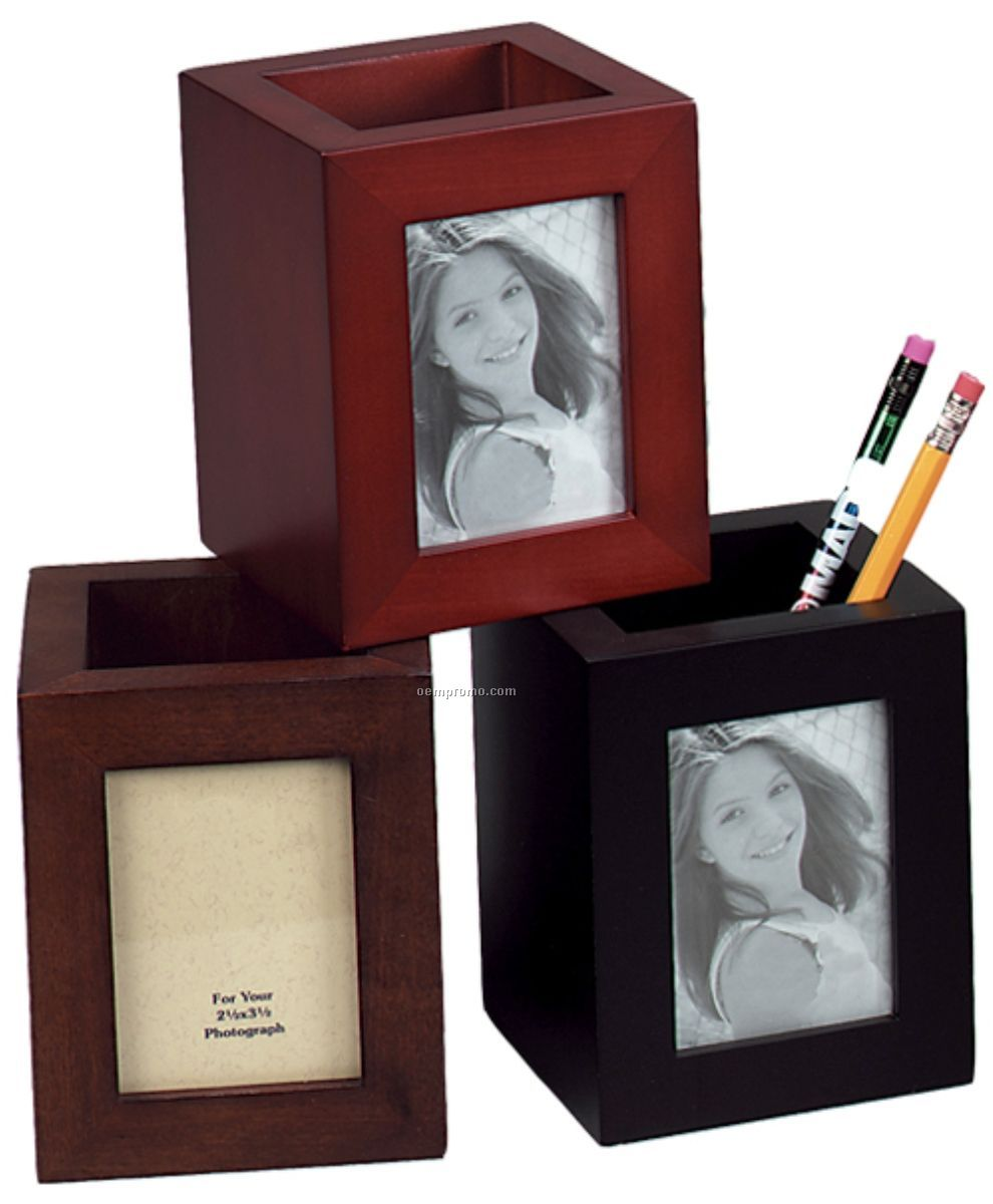 Wood Pen & Pencil Holder with photo frame