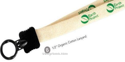 """1"""" Organic Cotton Lanyard W/ Key Ring - Blank"""