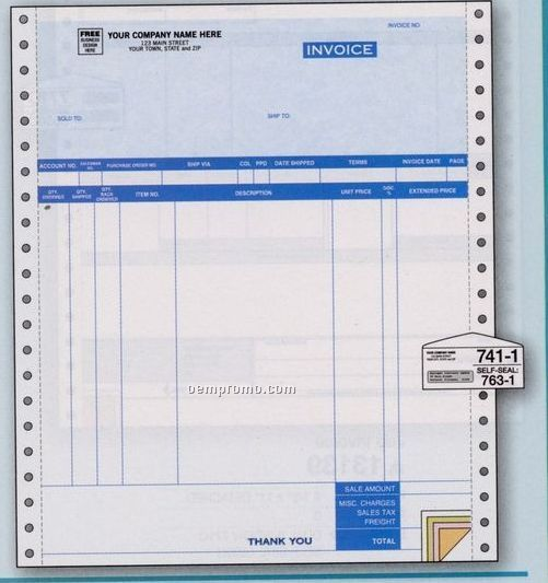 2 Part Parchment Continuous Invoice