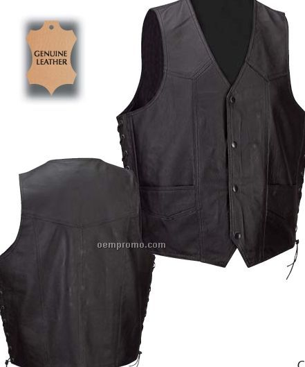 Diamond Plate Solid Genuine Leather Black Vest (M)