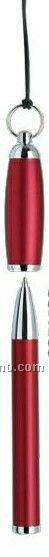 Matte Red Brass Barrel/ Cap Mini Ballpoint Pen On Strap W/Grip
