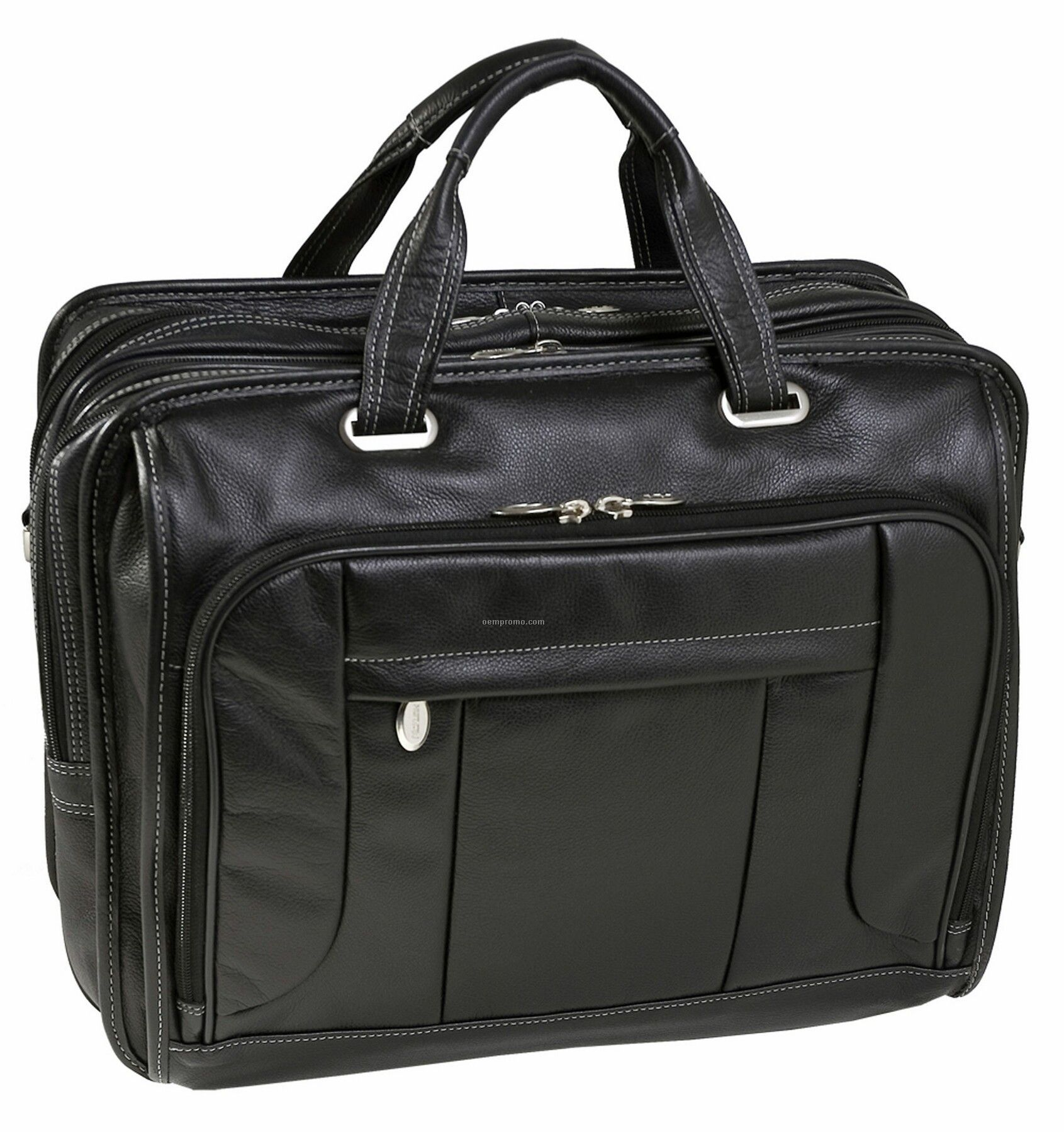 "River West Leather Checkpoint Friendly 17"" Laptop Case - Black"