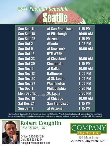 "Seattle Football Schedule Postcards-standard (4-1/4"" X 5-1/2"")"