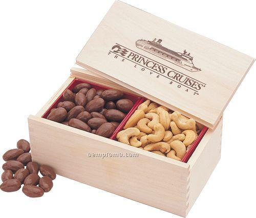 Wooden Collector's Box W/ Milk Chocolate Almonds & Jumbo Cashews