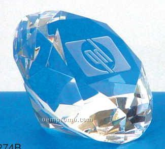 "3 1/8"" Crystal Diamond Shaped Paperweight (Screened)"