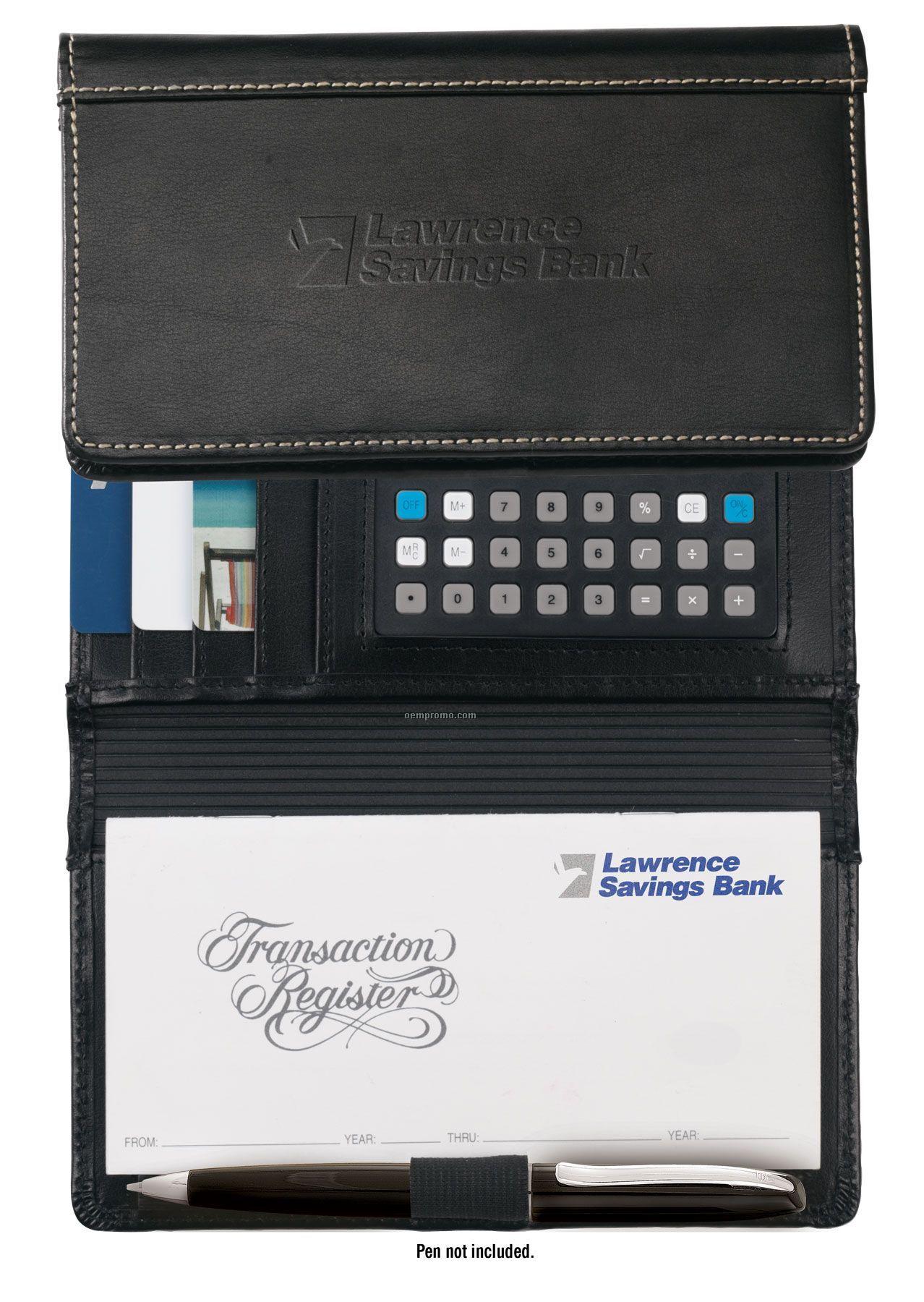 Accent Leather Checkbook Cover W/Calculator