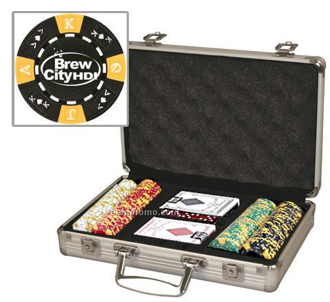 Custom Poker Chip Set W/ 200 Chips/ Cards & Aluminum Case