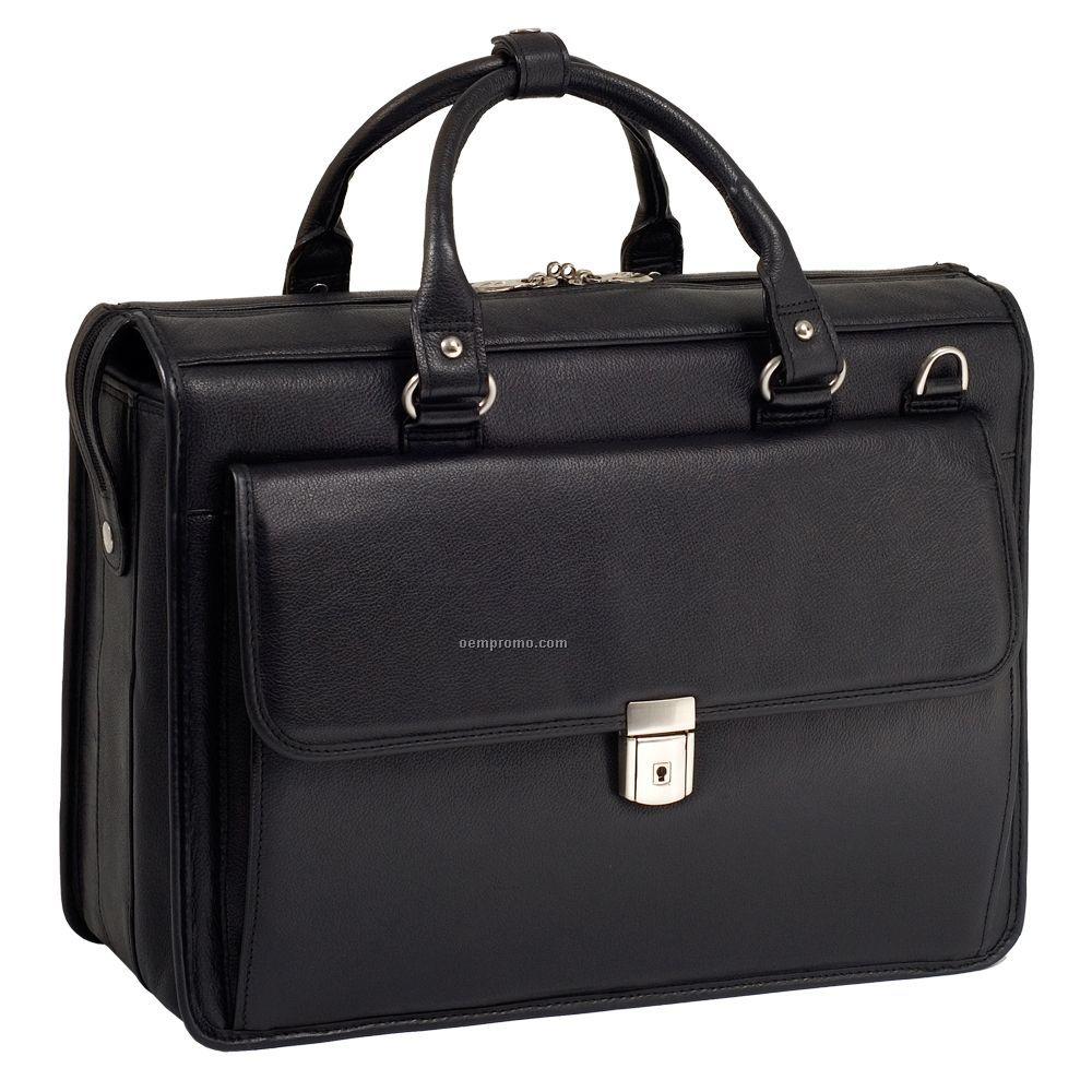 Gresham Leather Litigator Laptop Briefcase - Black