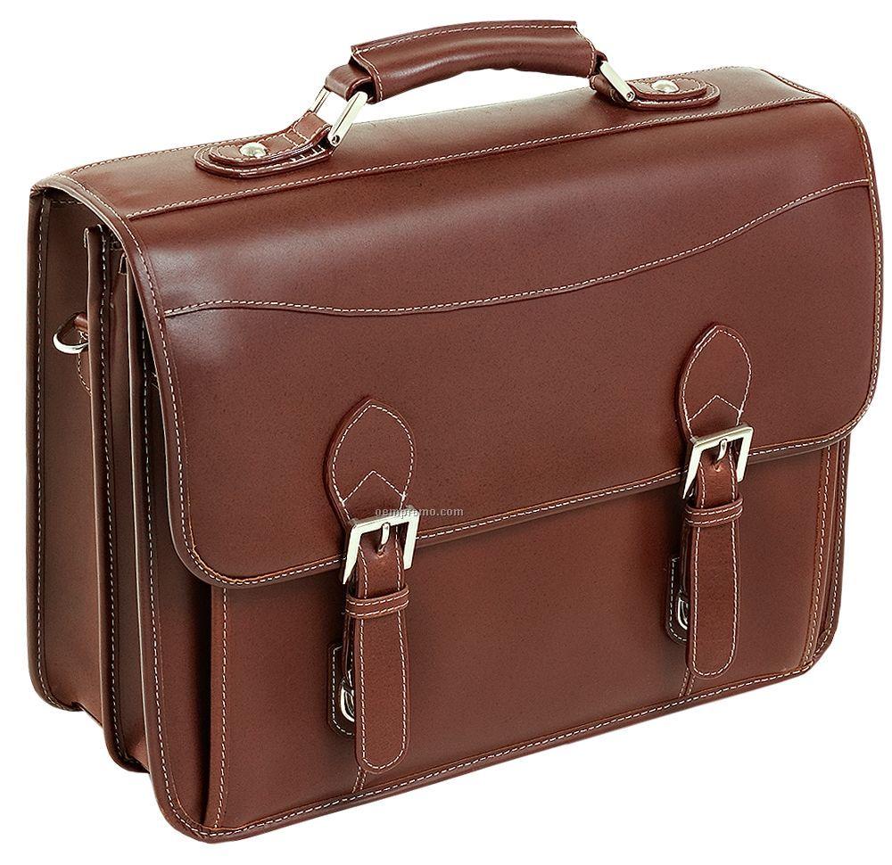 Belvedere Leather Double Compartment Laptop Case - Cognac