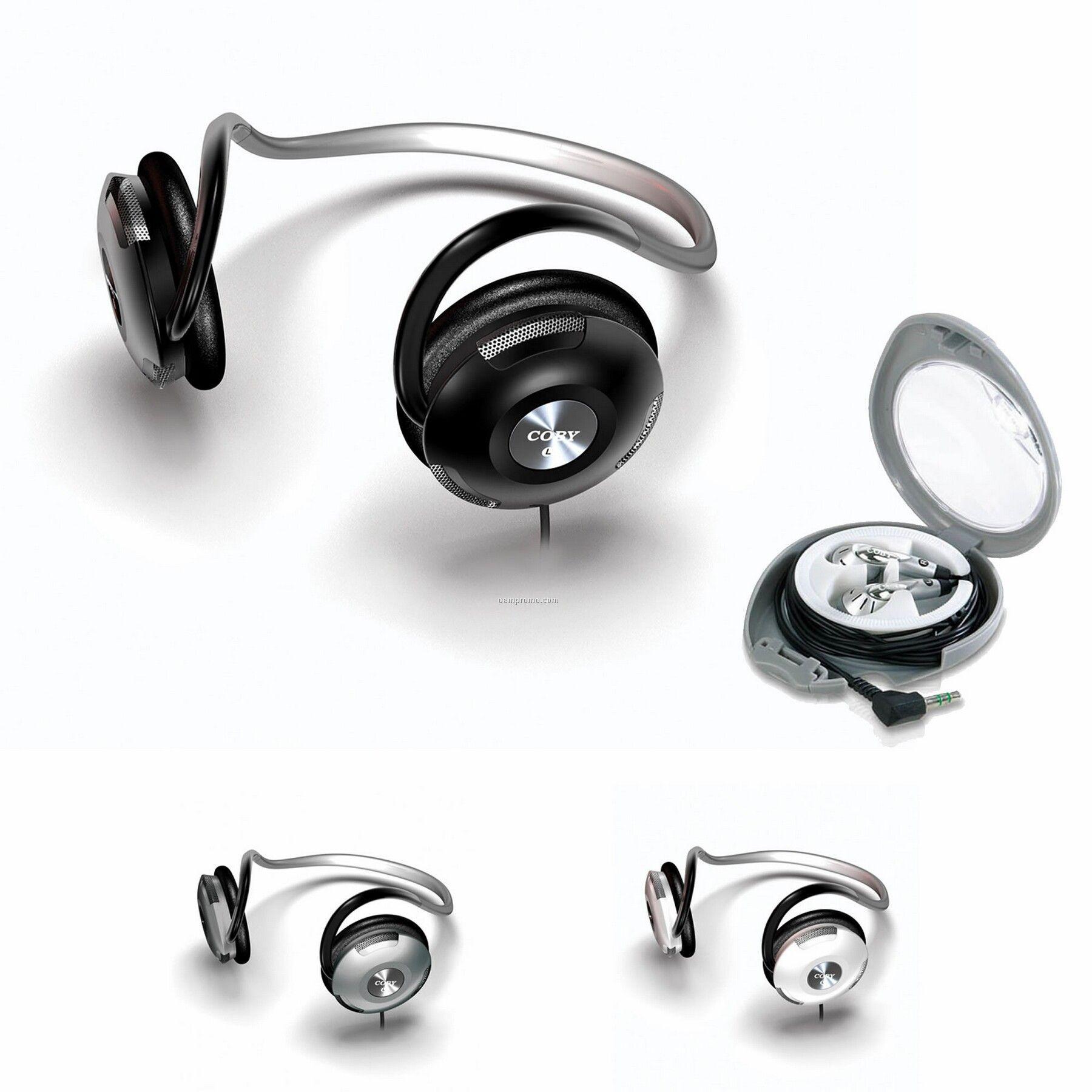 Neckband Digital Stereo Headphone W/ Bonus Earphones & Carry Case