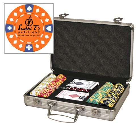 Custom 200 Poker Chip Set W/ Aluminum Case & Cards