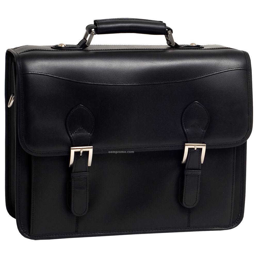 Belvedere Leather Double Compartment Laptop Case - Black