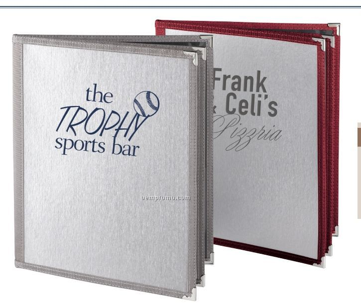 """Brushed Textured Metallic Menu Cover - 3 View/Trifold (5 1/2""""X8 1/2"""")"""