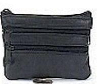 Leather 3 Zip Change Purse With Keychain
