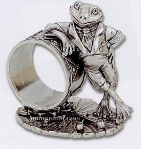 The 1824 Collection Silverplated Mr. Frog W/ Drum Napkin Ring