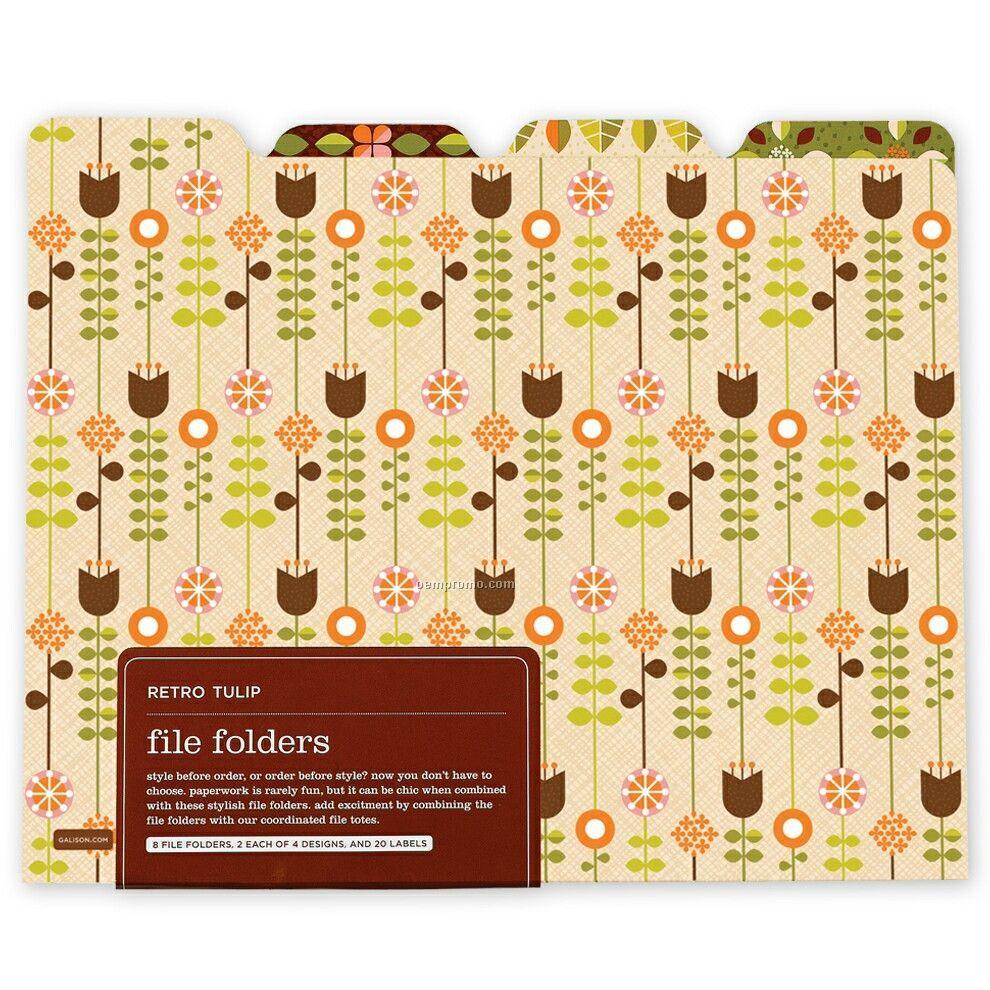 Retro Tulip File Folders