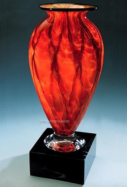 "Diamond Blaze Mercury Vase W/ Marble Base (5""X11.5"")"