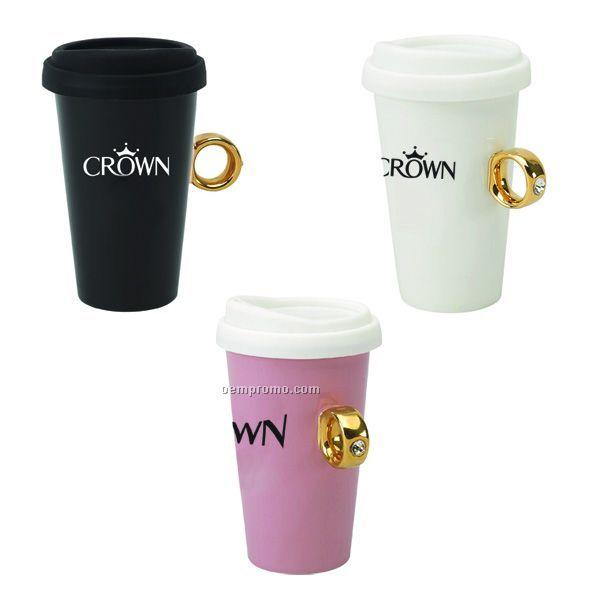 10oz Diva Ring Double Wall Ceramic Mug China Wholesale