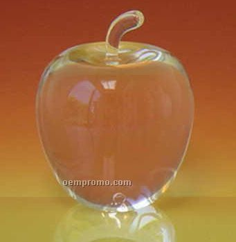 Optic Crystal Apple Paperweight (Screened)