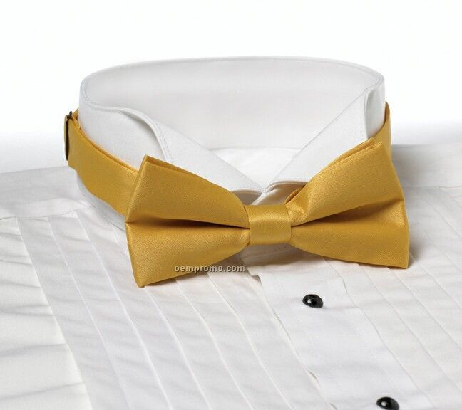 """Wolfmark Solid Series 2"""" Adjustable Band Polyester Bow Tie - Gold"""