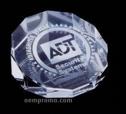 12 Sided Crystal Slanted Paperweight (Screened)