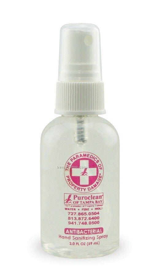 2 Oz. Antibacterial Hand Sanitizer Spray Bottle (Non Alcohol)