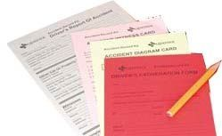 Accident Report Card Set W/Pencil (Blank Only)