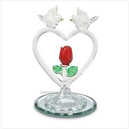 Glass Doves & Heart Figurine