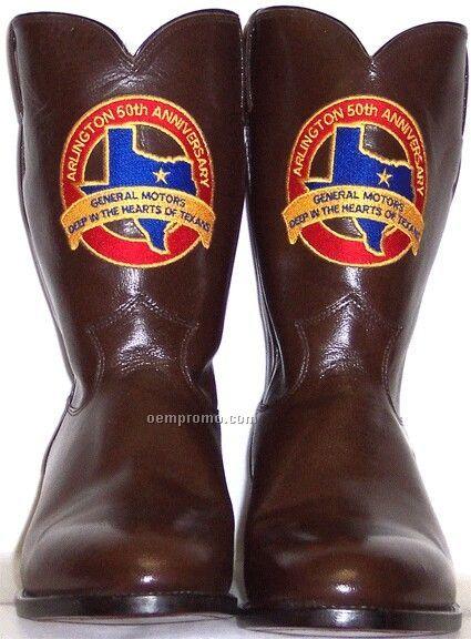 Justin Custom Logo Kid Leather Roper Boots