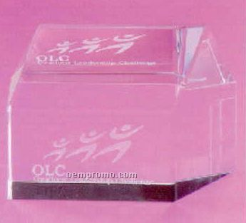 Real Estate Optical Crystal House Paperweight (Screen Printed)