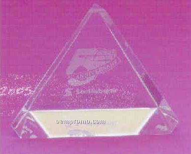 Beveled Triangle Crystal Paperweight (Screened)