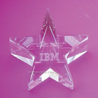 Optical Crystal Slant Star Paperweight (Screened)