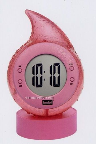 Pink Water Powered Drop Clock With Alarm Function